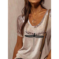 Animal Print Sequins Round Neck Short Sleeves T-shirts