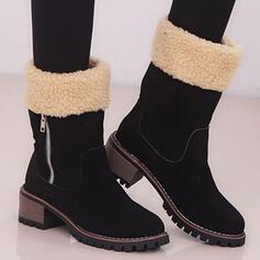 De mujer Ante Tacón ancho Botas longitud media Encaje Botas de invierno con Cremallera Bloque de color zapatos