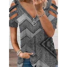 Print Cold Shoulder Short Sleeves Cold Shoulder Sleeve Casual Blouses