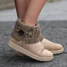 Women's Suede Flat Heel Ankle Boots Round Toe Slip On Snow Boots With Buckle Splice Color shoes