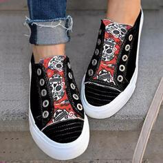 Femmes Toile Talon plat Chaussures plates Plateforme bout rond Espadrille Glisser sur avec Couleur d'épissure chaussures
