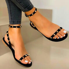 Women's PU Flat Heel Sandals Flats Peep Toe With Rivet Hollow-out shoes