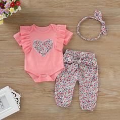 3-pieces Baby Girl Heart Ruffle Print Cotton Set