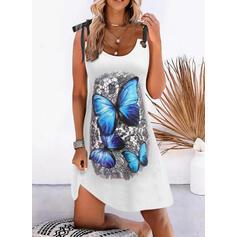 Print/Animal Sleeveless Shift Above Knee Casual Slip Dresses