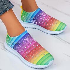 Femmes Tissu Mesh Talon plat Chaussures plates Low Top Glisser sur avec Autres Stripe chaussures