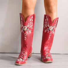 Mulheres PU Salto robusto Botas Botas na panturrilha Dedo pontudo com Floral Bordados sapatos