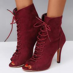 De mujer Ante Tacón stilettos Salón Encaje Tacones con Cordones Color sólido zapatos