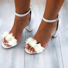 De mujer PU Tacón ancho Sandalias Salón Encaje con Apliques Agujereado Color sólido zapatos