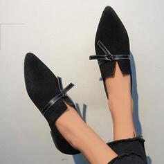 Femmes Suède Talon plat Glisser sur avec Dentelle Couleur unie chaussures