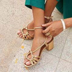 Mulheres PU Salto robusto Sandálias Bombas Peep toe Sapatos abertos Saltos sapatos