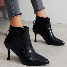 Mulheres Camurça Salto de gatinha Bombas Botas Low Top Saltos Dedo pontudo com Zíper Cor sólida sapatos