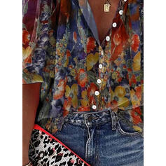 Print Floral V-Neck 3/4 Sleeves Button Up Casual Shirt Blouses