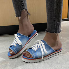 Women's Canvas Flat Heel Sandals Flats Platform Peep Toe Slippers With Lace-up Hollow-out shoes