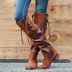 Femmes PU Talon bottier Bottes hautes Bout pointu avec Dentelle Couleur unie chaussures