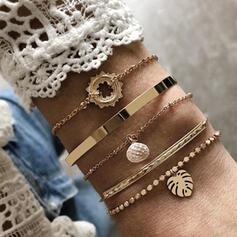 Attrayant Charme Jolie Élégante Alliage avec Feuille Bracelets Bracelets De Charme 5 PCS