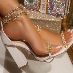 Mulheres PU Salto robusto Bombas Peep toe Low Top Saltos com Strass Fivela Corrente Cor sólida sapatos