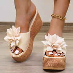 Femmes PU Talon compensé Sandales Plateforme À bout ouvert Chaussons avec Motif appliqué Couleur unie chaussures