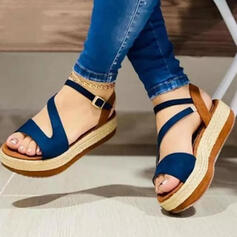 Women's Suede Flat Heel Sandals Platform Peep Toe With Hollow-out Splice Color shoes