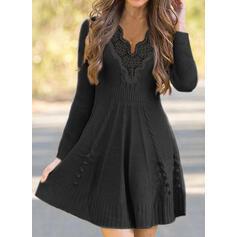 Lace/Solid Long Sleeves A-line Above Knee Little Black/Elegant Sweater/Skater Dresses