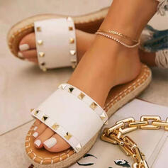 Women's PU Flat Heel Sandals Flats Platform Peep Toe Slippers With Rivet shoes