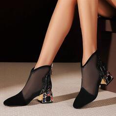 Women's PU Chunky Heel Pumps Heels With Stitching Lace Zipper Jewelry Heel shoes