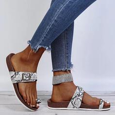 Women's PU Flat Heel Peep Toe Slippers With Animal Print shoes