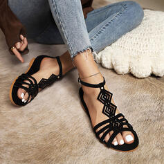 Women's Suede Flat Heel Sandals Flats Peep Toe Round Toe With Solid Color shoes