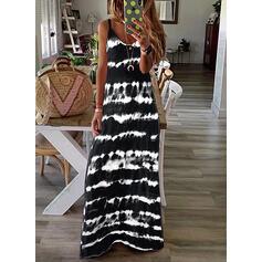 Print/Tie Dye Sleeveless Shift Slip Casual/Vacation Maxi Dresses