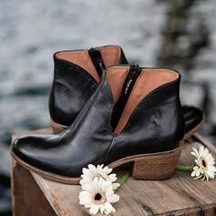 De mujer Cuero Tacón ancho Botas Top bajo Dedo del pie puntiagudo con Cremallera Color sólido zapatos