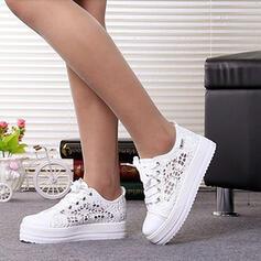 Mulheres Malha Sem salto Sem salto Toe rodada com Aplicação de renda Oca-out sapatos