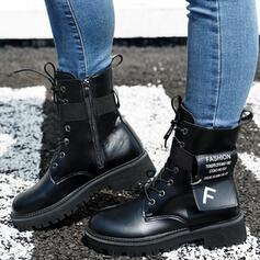 De mujer PU Tacón bajo Botas Botas longitud media Martin botas Encaje con Cremallera Cordones Banda elástica zapatos