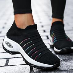 Women's Flying Weave Flat Heel Platform Flats Low Top Sneakers With Elastic Band Stripe shoes
