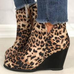 De mujer PU Tipo de tacón Cuñas Botas al tobillo Top bajo Dedo del pie puntiagudo Botines chelsea con Estampado de animales Cremallera zapatos