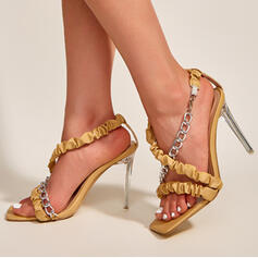 Women's PU Stiletto Heel Pumps Peep Toe Heels With Chain Hollow-out shoes