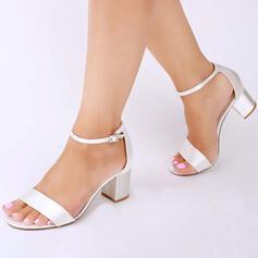 Mulheres Cetim Salto robusto Sandálias Bombas Peep toe com Fivela sapatos