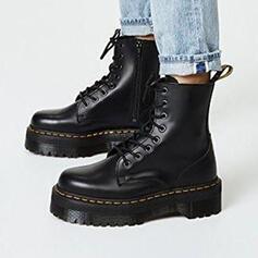 Mulheres PU Sem salto Bota no tornozelo Martin botas Toe rodada com Aplicação de renda Cor sólida sapatos