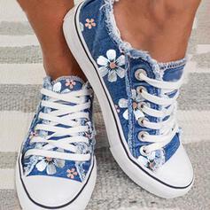 Femmes Toile Talon plat Chaussures plates Low Top bout rond avec Dentelle Une fleur Inmprimé chaussures
