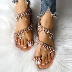 Women's PU Flat Heel Sandals Flats Peep Toe Round Toe With Imitation Pearl Hollow-out shoes