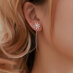 Simple Alloy With Tassels Flowers Earrings (Set of 2)