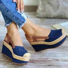 Femmes Tissu Talon compensé Sandales Compensée bout rond avec Boucle Semelle Couleur d'épissure chaussures