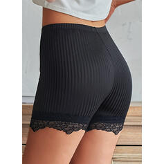 Solid Lace Above Knee Casual Pants Shorts Leggings