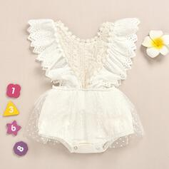 Baby Girl Ruffle Polka Dot Lace Cotton One-piece