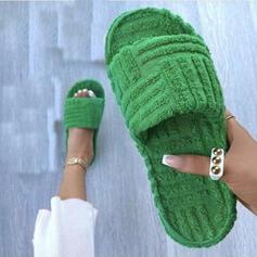 Femmes Faux-Fur Talon plat Sandales À bout ouvert Chaussons avec Couleur unie chaussures