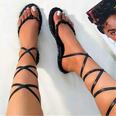 Women's PU Flat Heel Sandals Flats Flip-Flops With Lace-up Solid Color Crisscross shoes