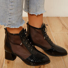 Women's PU Chunky Heel Ankle Boots Pointed Toe With Stitching Lace Lace-up shoes