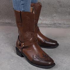 Mulheres PU Salto robusto Botas Botas na panturrilha Toe rodada com Fivela Cor da emenda Bordados sapatos