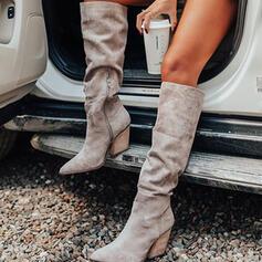 Femmes Suède Talon bottier Bottes hautes Bout pointu avec Plissé Zip Couleur unie chaussures