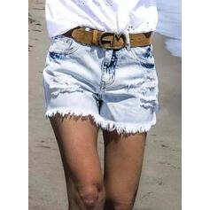 Denim Above Knee Casual Vintage Plus Size Tassel Pocket Ripped Pants Shorts Denim & Jeans