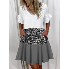 Sequins/Color Block/Leopard Short Sleeves Shift Above Knee Casual Tunic Dresses