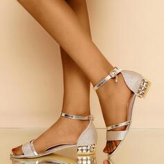 Femmes PU Talon bottier Sandales Escarpins À bout ouvert Talons avec Boucle chaussures